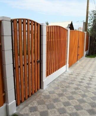 Забор деревянный Шахматный полукруг